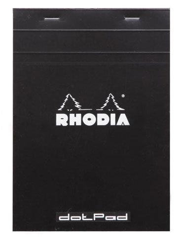 Rhodia Classic Notepad Dot Pad Top Staple Bound 6 x 8 ¼ Dot Grid Black