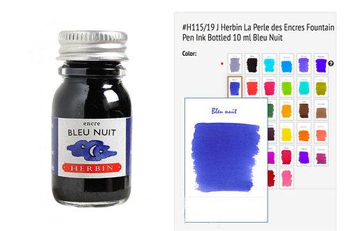 J Herbin Bleu Nuit 10ml Bottled Ink
