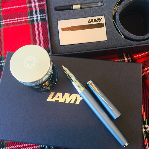"Lamy Studio ""Glacier"" Fountain Pen with Benitoite Ink and Cartridges"