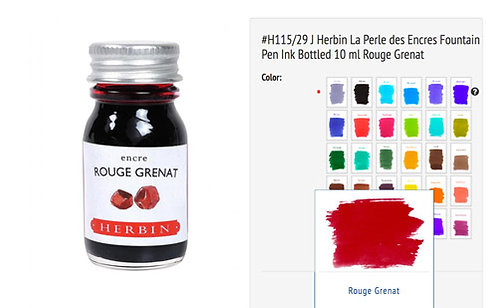 J Herbin Rouge Grenat (Red Garnet) 10ml Bottled Ink