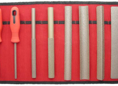 Perma-Grit Set of 8 Hand Tools COURSE in Red Canvas Roll