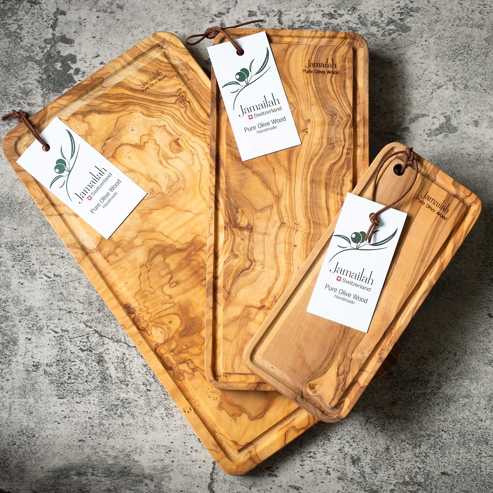 Jamailah serving boards handcrafted from olive wood