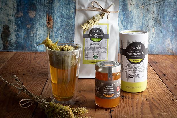 Tea-and-raw-honey-Greek-mountain-tea-Swi