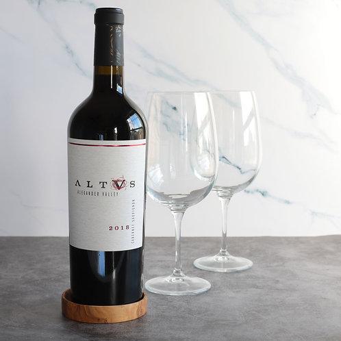 Wine bottle coaster from Olive Wood