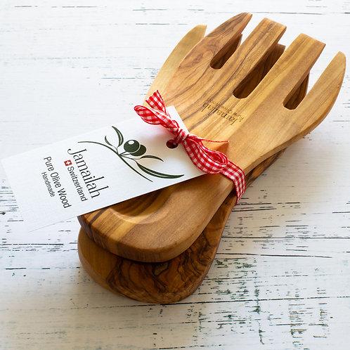 Salad fork set made from Olive Wood