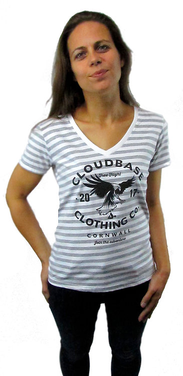 CBAV124 Ladies Fashion Striped V Neck T-Shirt