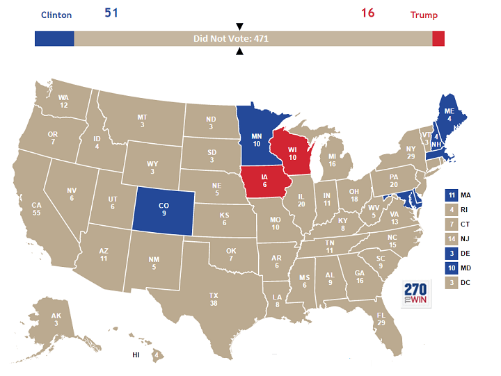 Map showing eligible votes 2016 United States election