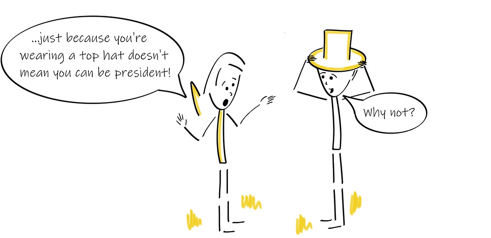 Comic of a person putting on a top hat