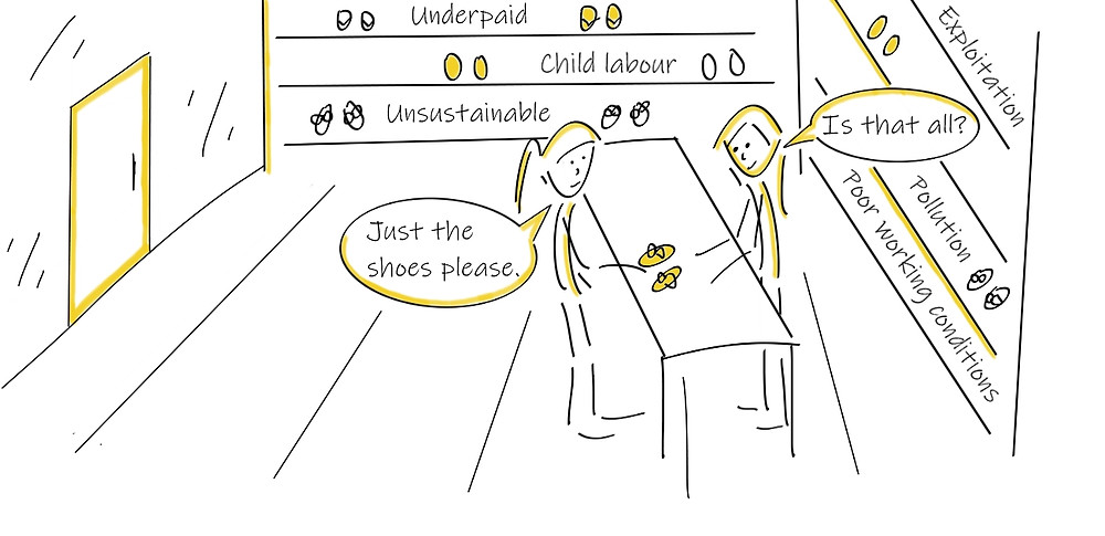 Woman purchasing new shoes without understanding the business practices of the shop