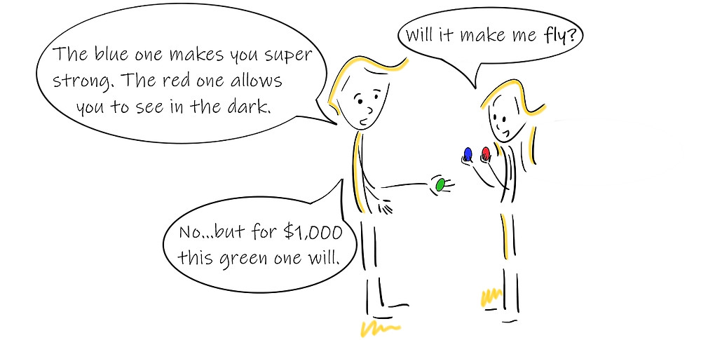 Comic of a man offering super drugs to a woman