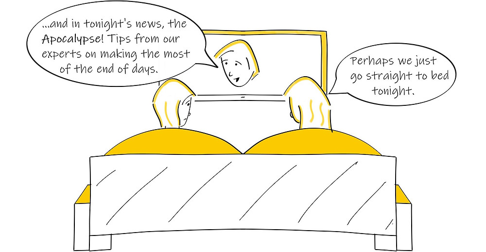 Comic of people going straight to bed because of depressing news on TV
