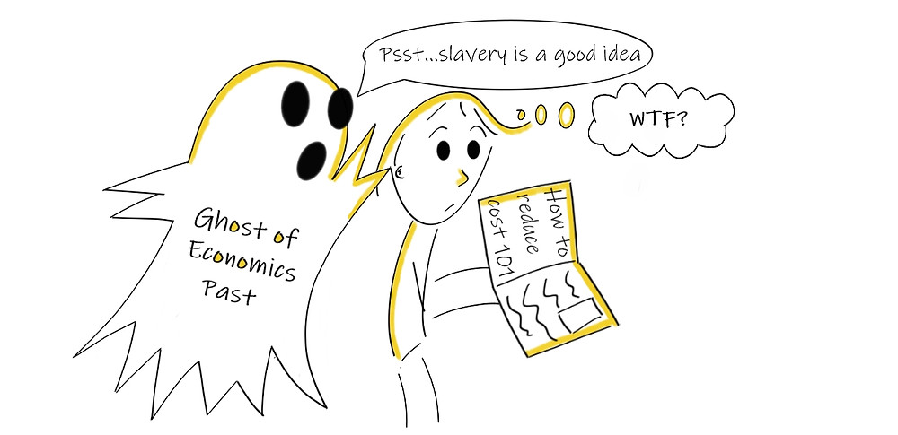 Economic ghost haunting a person who wants to save money