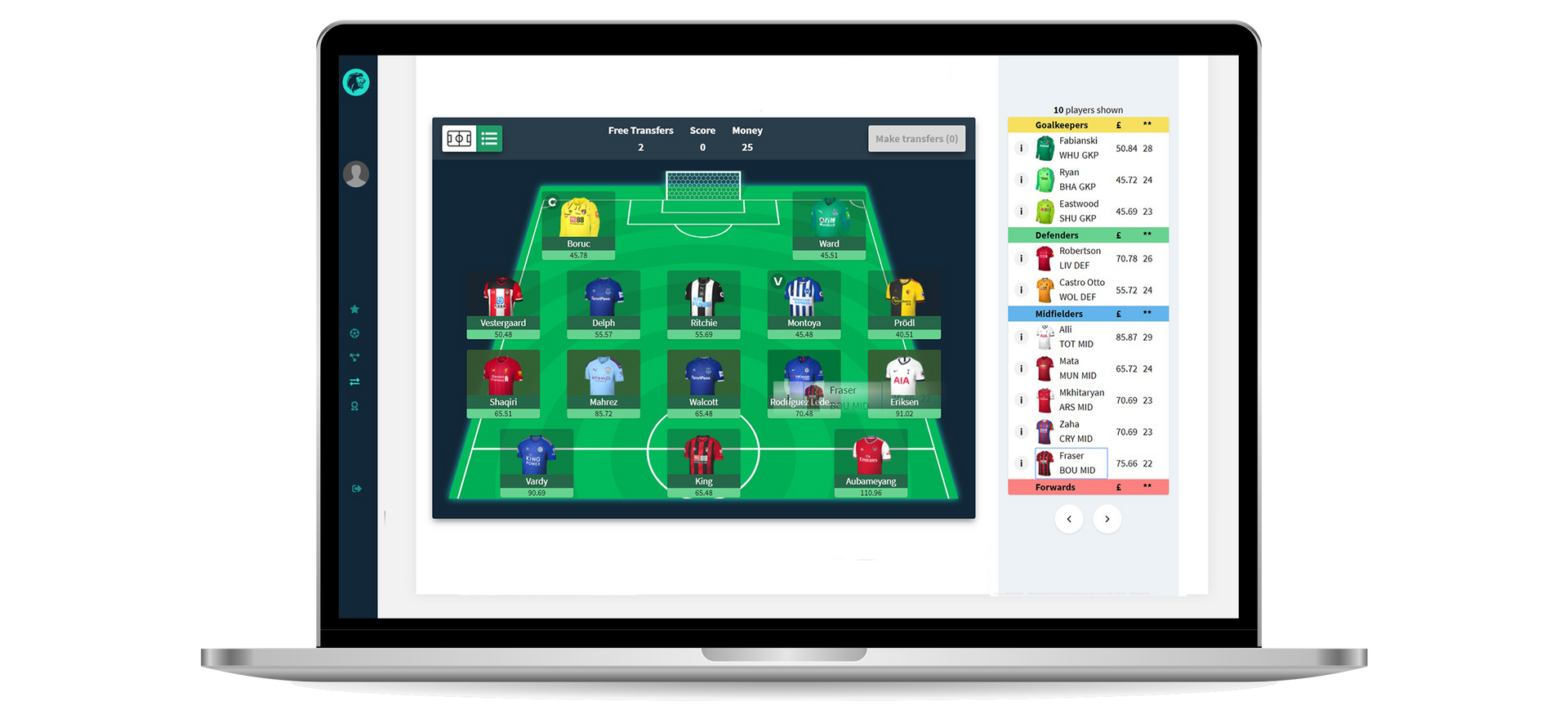 Sports App Lineup