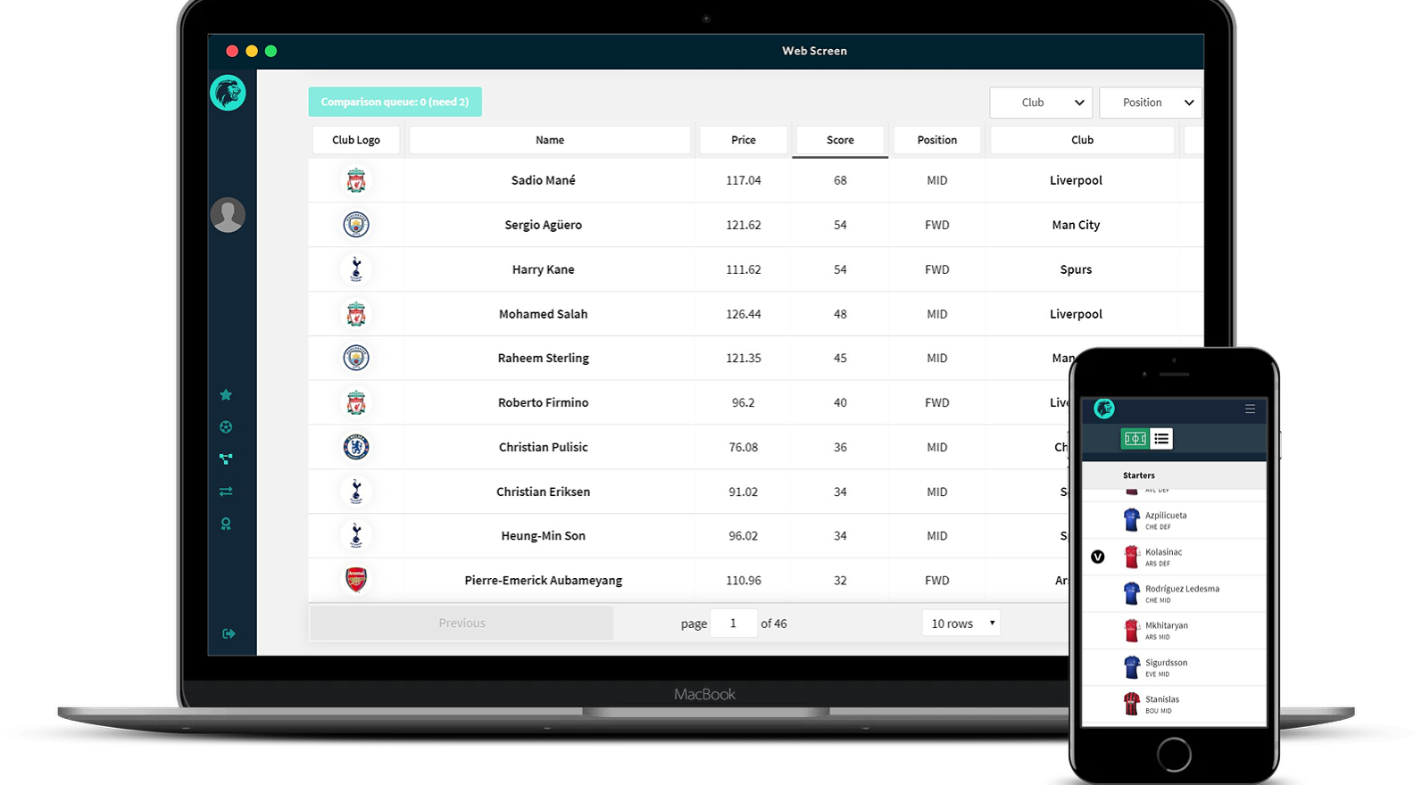 Sports App Web and Mobile