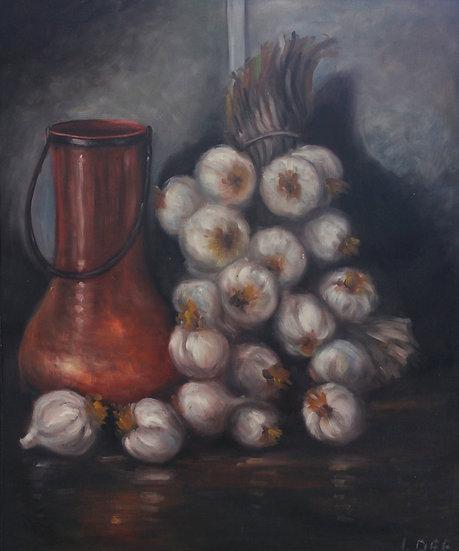 Bronze Pitcher And Garlic