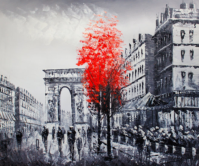 Street Of Paris (Red Tree B&W)