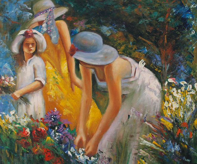 Women Picking Flowers