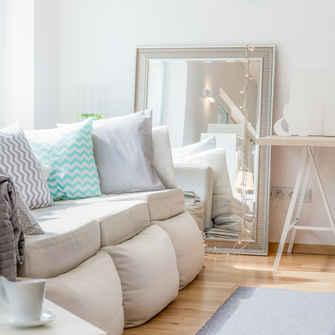 silver framed mirror living room