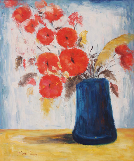 Red Flowers In a Blue Vas