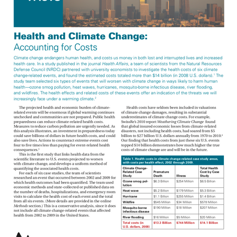 Health and Climate Change: Accounting for Costs