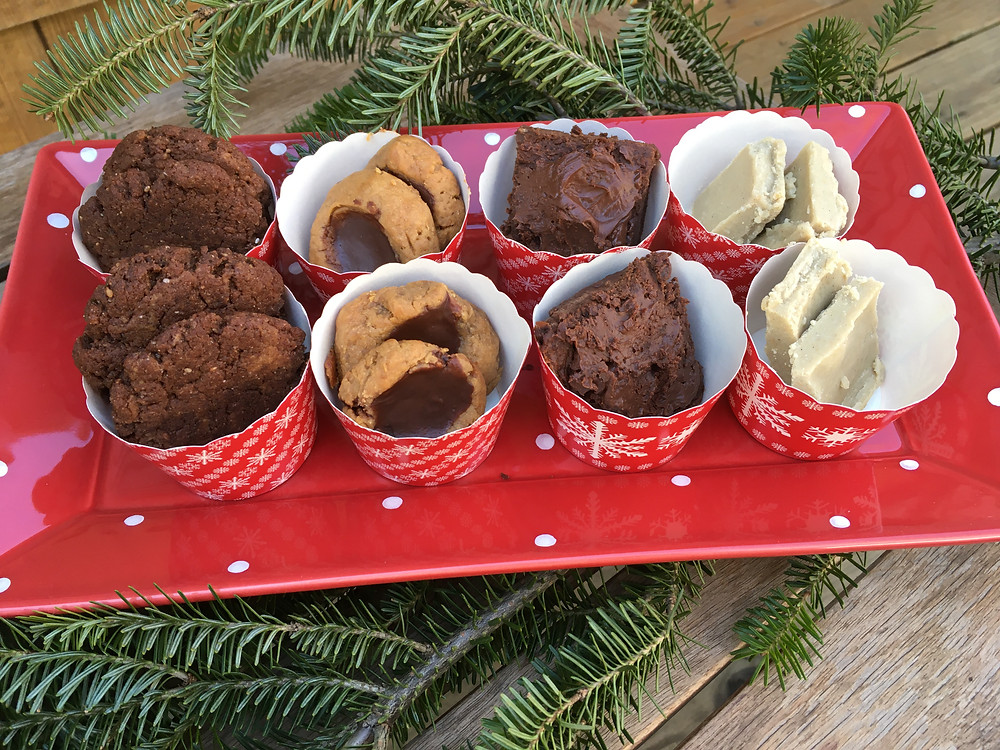 Keto cookies: left to right, Mexican Hot Chocolate, Peanut Butter Thumbprint, Keto Black Bean Brownies, Salted Halva Fudge