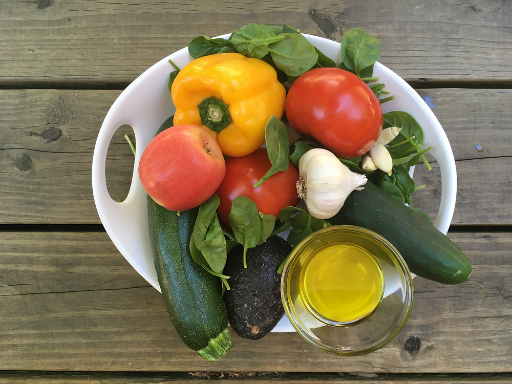 Ingredients for chilled summer soups