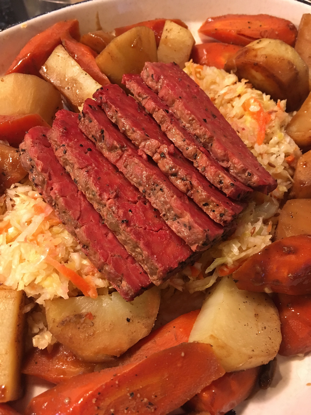 Mock corned beef on a bed of fermented kraut