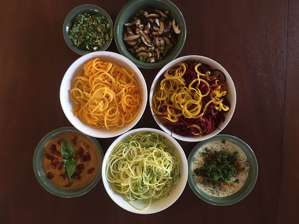 Zoodles and toppings