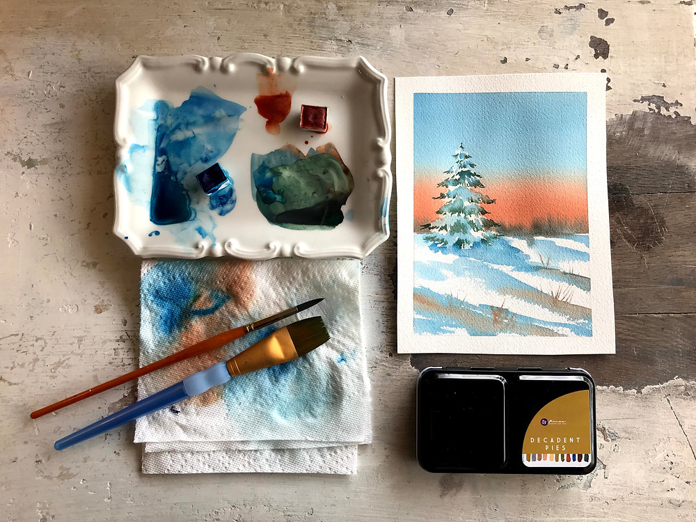 Snowy Scene in Watercolor