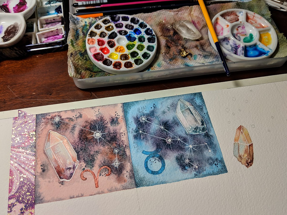 zodiac watercolor in progress
