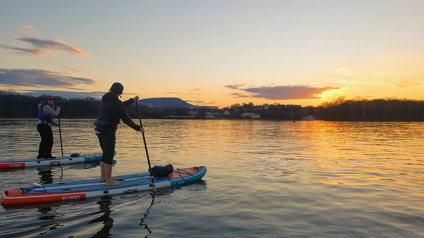2 paddlers Sunset SUP on TN River lookou