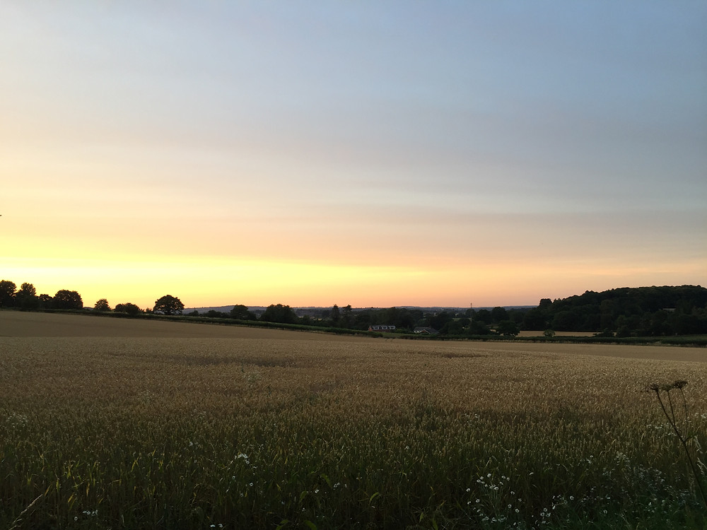 Sunset over rural Worcestershire