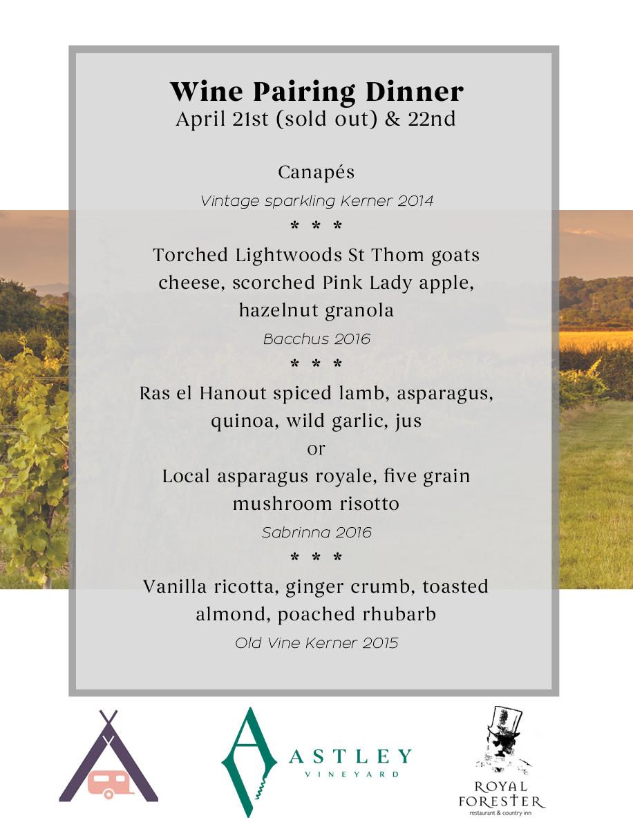 Wine pairing dinner menu