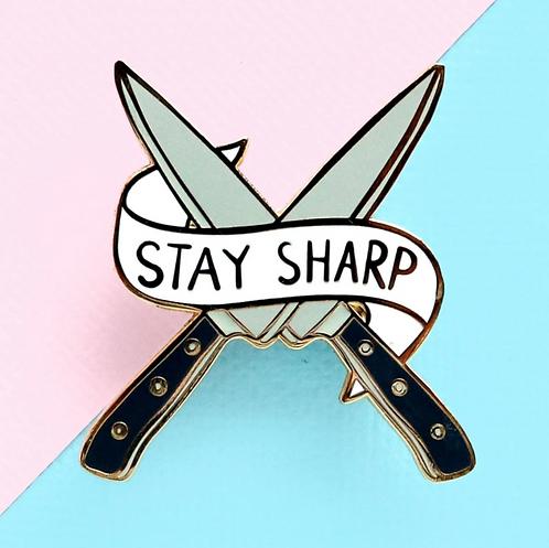 STAY SHARP LAPEL PIN