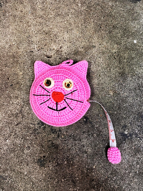 Kitty Cat Crocheted Tape Measure (Pink)