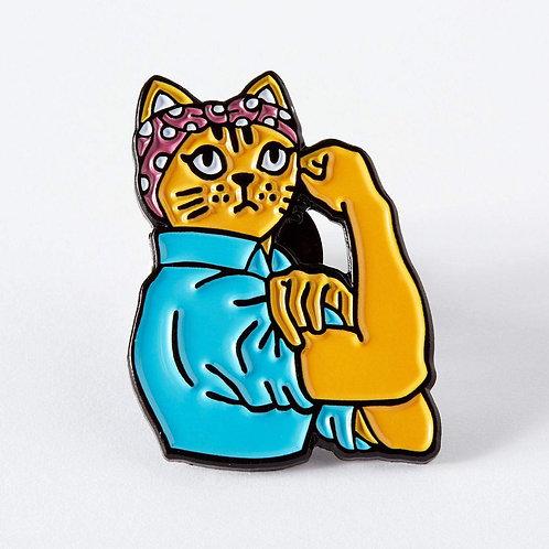 Feminist Rosie Cat Enamel Pin