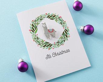 Llama Christmas Card with Pin