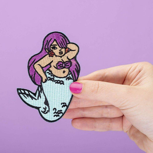 Chubby Mermaid Embroidered Iron On Patch