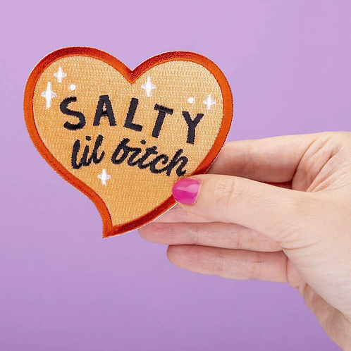 Salty Lil Bitch Heart Shaped Embroidered Iron On Patch