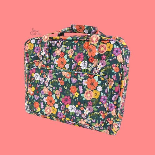 SEWING MACHINE CARRY BAG - floral garden teal design