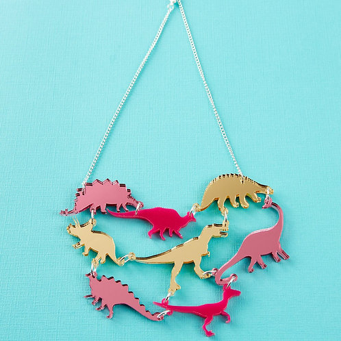 Pink Dinosaur Gang Acrylic Necklace