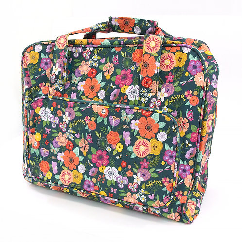 SEWING MACHINE CARRY BAG - floral garden teal design