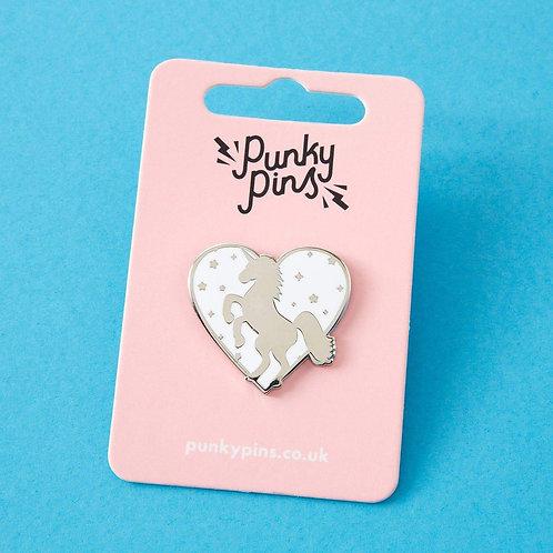 Unicorn Heart Enamel Pin White
