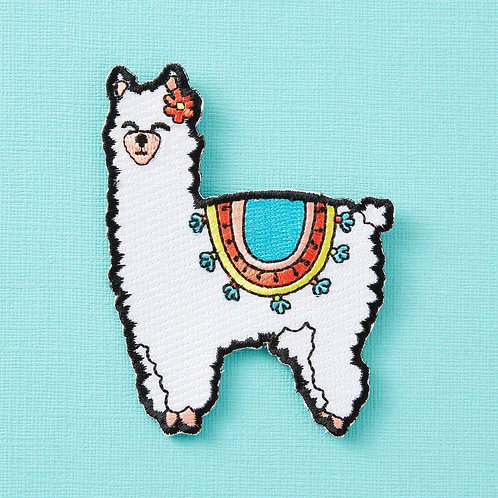 Fluffy Llama Embroidered Iron On Patch