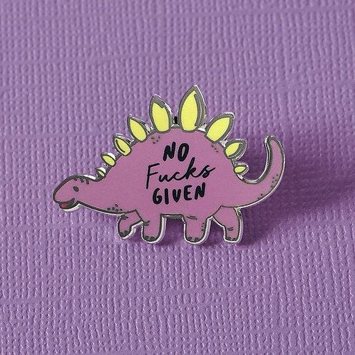 No F**ks Given Stegosaurus Dinosaur Lapel Pin