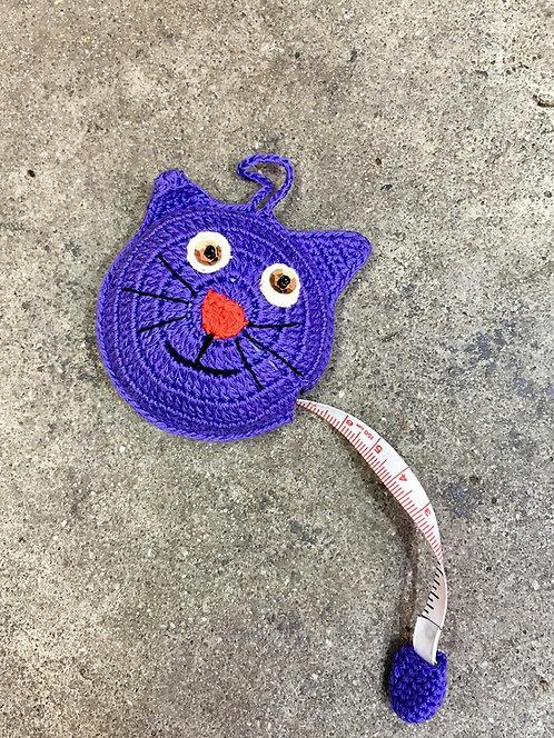 Kitty Cat Crocheted Tape Measure (Purple)