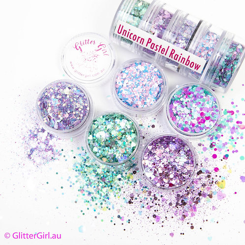 Glitter Girl Unicorn Pastel Rainbow Collection