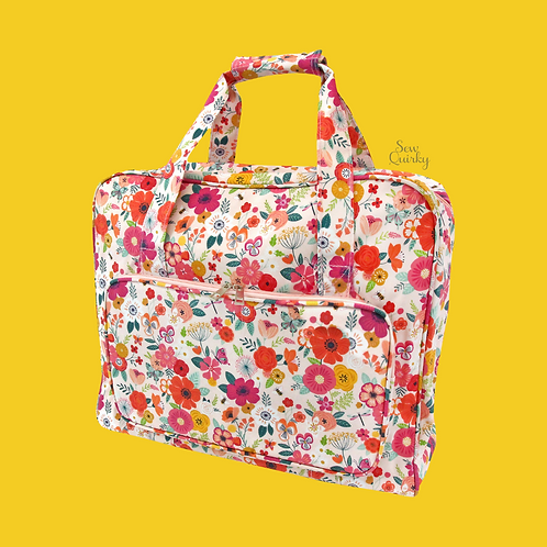 SEWING MACHINE CARRY BAG - floral garden pink design