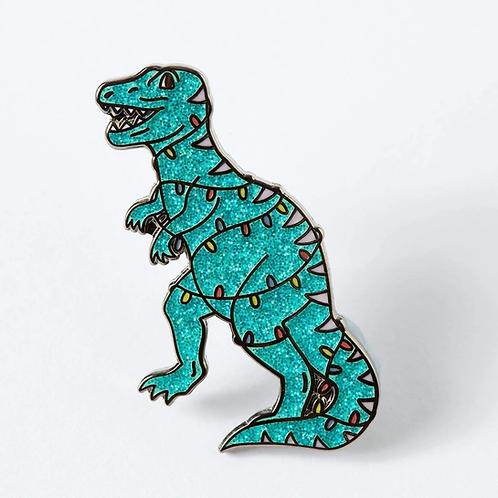 Teal Christmas Dinosaur Enamel Pin
