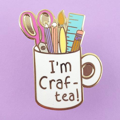 I'm craft-tea mug lapel pin